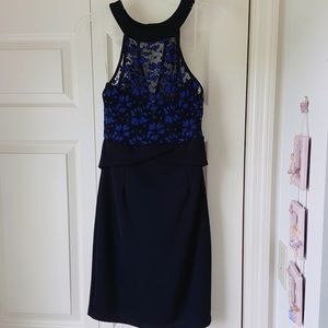 BOUTIQUE Navy Black Sleeveless Lace Fitted Dress